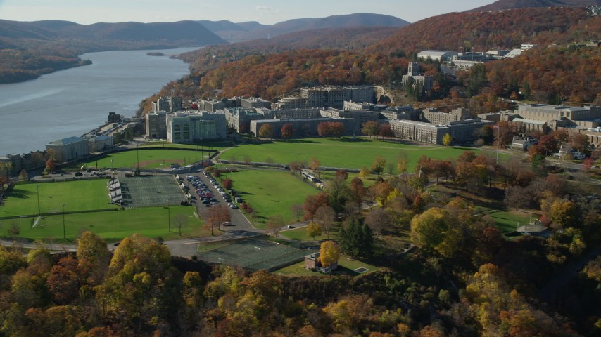 West Point Military Academy in Autumn, West Point, New York Aerial Stock Footage | AX119_170