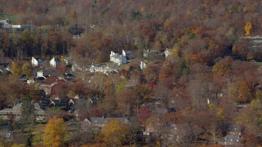 Housing at West Point Military Academy in Autumn, West Point, New York Aerial Stock Footage | AX119_171