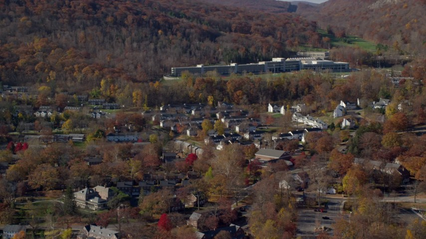 6K stock footage aerial video of housing at West Point Military Academy campus in Autumn, West Point, New York Aerial Stock Footage | AX119_172