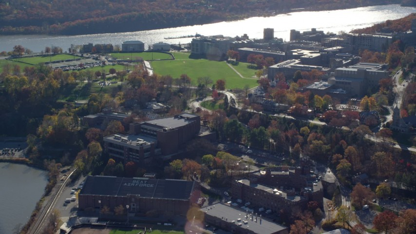 6K stock footage aerial video orbit the campus of West Point Military Academy in Autumn, West Point, New York Aerial Stock Footage | AX119_173