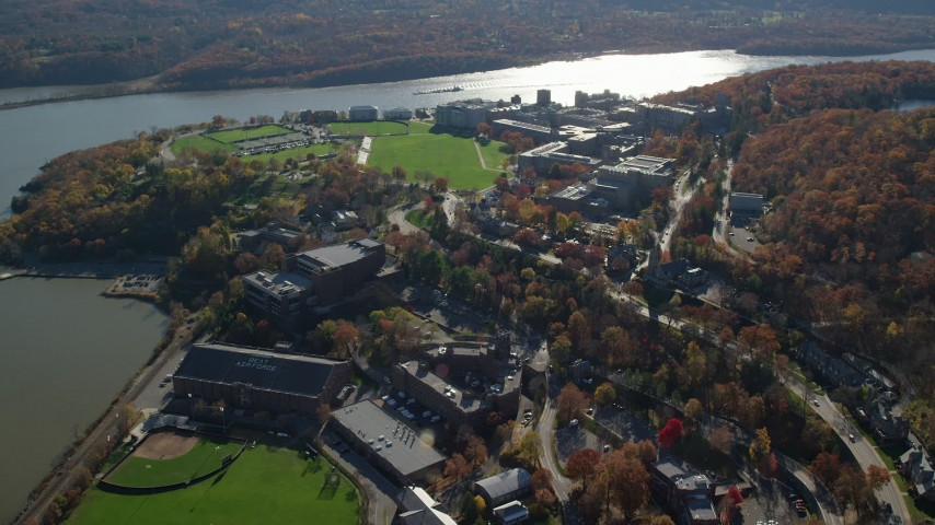 West Point Military Academy in Autumn, West Point, New York Aerial Stock Footage | AX119_174