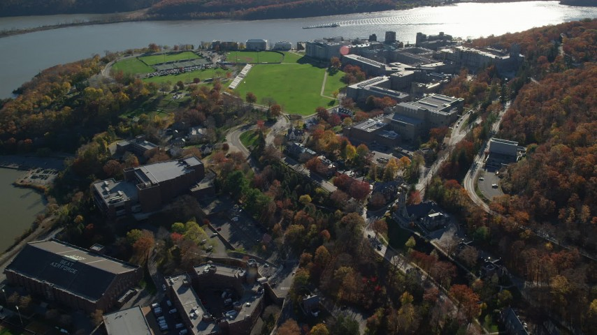 6K stock footage aerial video of circling the West Point Military Academy campus in Autumn, West Point, New York Aerial Stock Footage | AX119_174