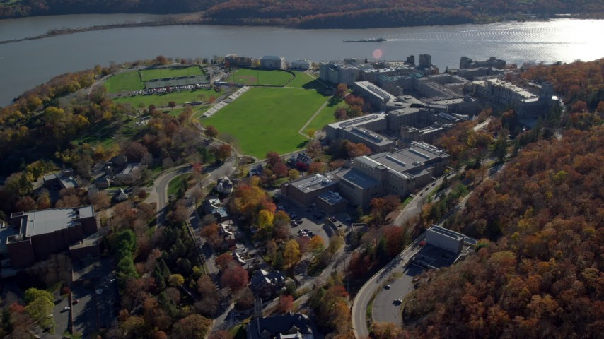 5.5K stock footage aerial video of circling the West Point Military Academy campus in Autumn, West Point, New York Aerial Stock Footage | AX119_174E