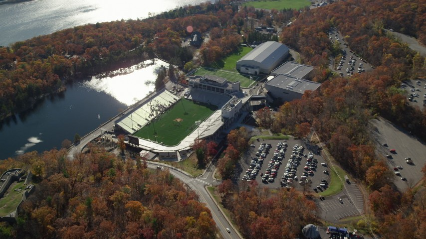 Michie Stadium at West Point Military Academy in Autumn, West Point, New York Aerial Stock Footage | AX119_176