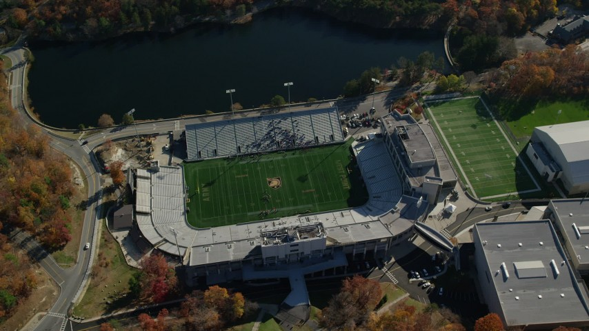6K stock footage aerial video orbit Michie Stadium at West Point Military Academy in Autumn, West Point, New York Aerial Stock Footage | AX119_177