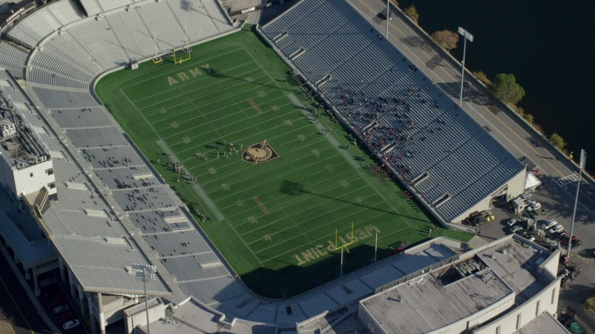 Michie Stadium at West Point Military Academy in Autumn, West Point, New York Aerial Stock Footage AX119_178