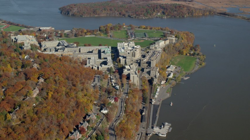 6K stock footage aerial video of the West Point Military Academy campus in Autumn, West Point, New York Aerial Stock Footage | AX119_179