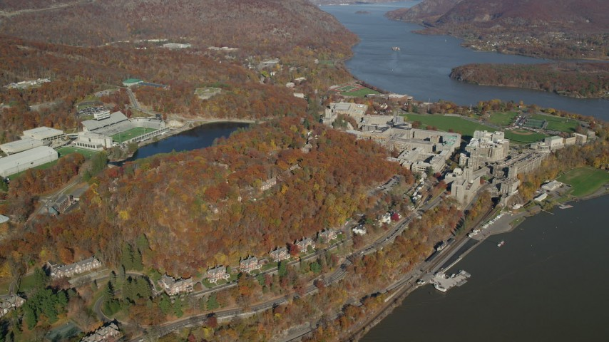 West Point Military Academy in Autumn, West Point, New York Aerial Stock Footage | AX119_180