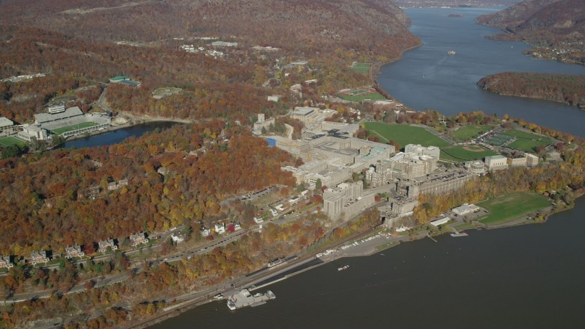 West Point Military Academy in Autumn, West Point, New York Aerial Stock Footage | AX119_181