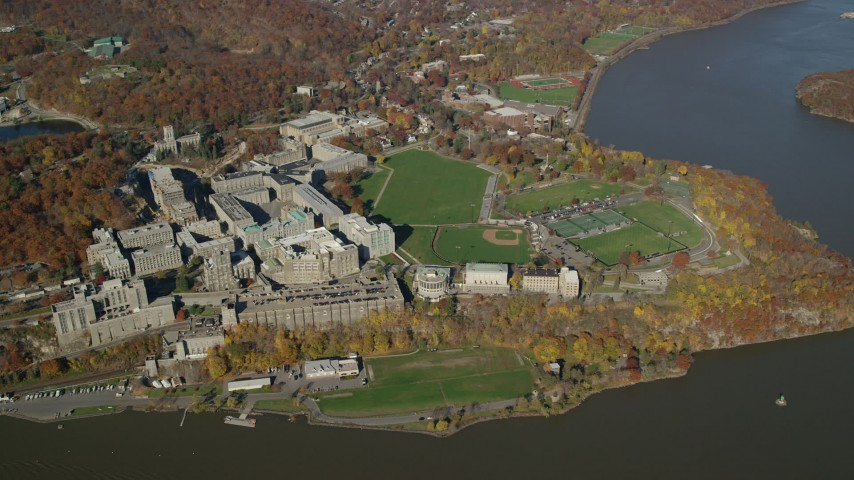 West Point Military Academy in Autumn, West Point, New York Aerial Stock Footage | AX119_183