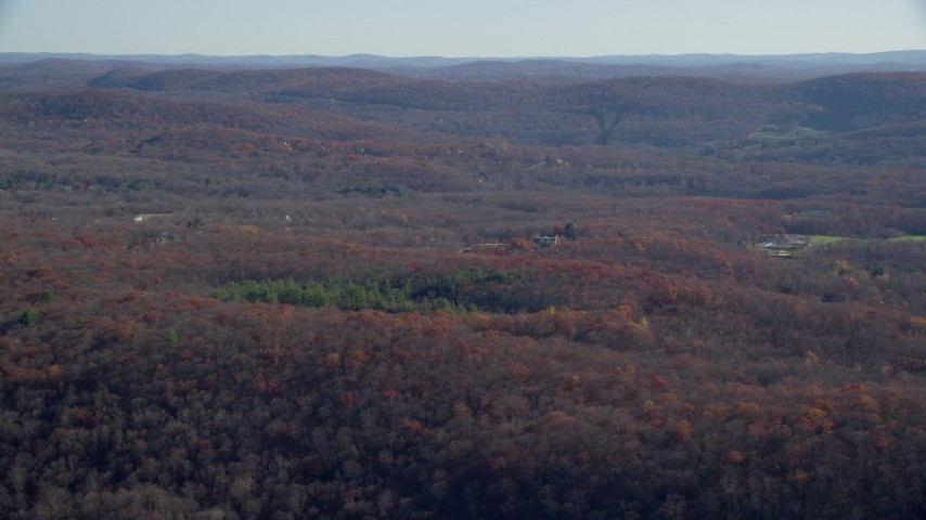 6K stock footage aerial video of a wide expanse of forests in Autumn, Garrison, New York Aerial Stock Footage | AX119_191