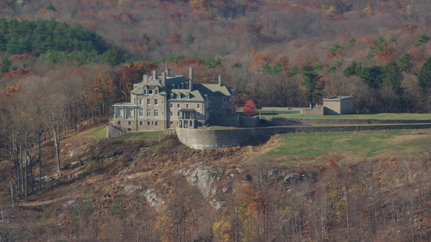 6K stock footage aerial video of an orbit of an isolated mansion on a hill in Autumn, Mt Kisco, New York Aerial Stock Footage | AX119_217