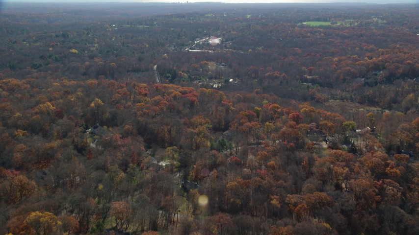 6K stock footage aerial video of a rural neighborhood in Autumn, Mt Kisco, New York Aerial Stock Footage | AX119_220