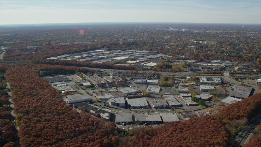 6K stock footage aerial video of office buildings in Autumn, Plainview, New York Aerial Stock Footage | AX119_249