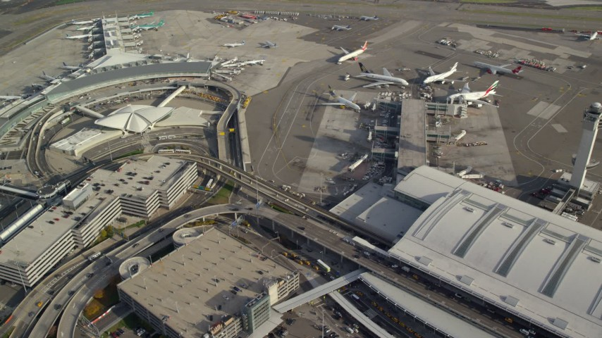 6K stock footage aerial video of terminals at John F Kennedy International Airport, New York Aerial Stock Footage | AX120_059