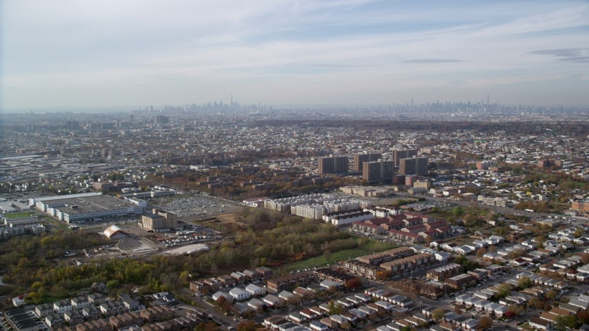6K stock footage aerial video of apartment buildings and projects in Autumn, Brooklyn, New York City Aerial Stock Footage | AX120_074
