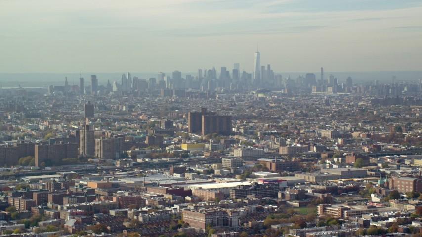 6K aerial stock footage video of Lower Manhattan skyline in Autumn, seen from Brooklyn, New York City Aerial Stock Footage | AX120_076