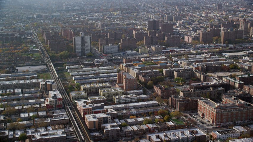 6K stock footage aerial video of public housing in Autumn, Brooklyn, New York City Aerial Stock Footage | AX120_078