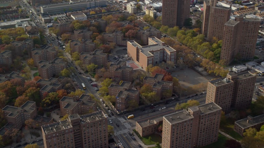 6K stock footage aerial video of public housing and elementary school in Autumn, Brooklyn, New York City Aerial Stock Footage | AX120_079