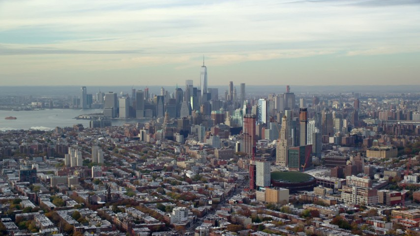 6K stock footage aerial video of Downtown Brooklyn and Lower Manhattan skylines in Autumn, New York City Aerial Stock Footage | AX120_084