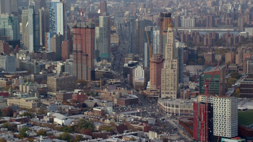6K stock footage aerial video of skyscrapers in the downtown area of Brooklyn in Autumn, New York City Aerial Stock Footage | AX120_085