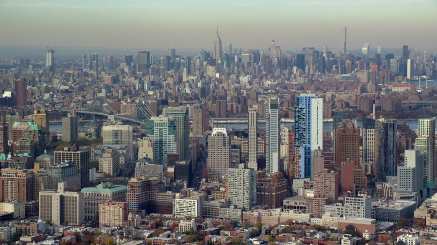6K stock footage aerial video of downtown area skyscrapers in Autumn, Brooklyn, New York City Aerial Stock Footage | AX120_087