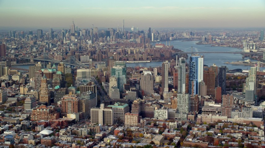 6K stock footage aerial video of Brooklyn's downtown skyscrapers in Autumn, New York City Aerial Stock Footage | AX120_088