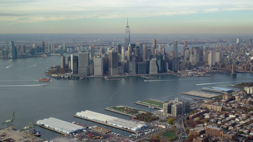 6K stock footage aerial video approach Lower Manhattan skyscrapers in Autumn, New York City Aerial Stock Footage | AX120_089E