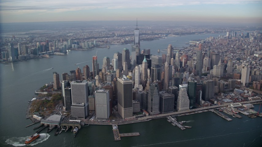Approach Lower Manhattan in Autumn, New York City Aerial Stock Footage | AX120_093