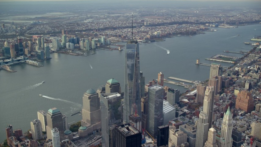 6K stock footage aerial video of Freedom Tower in Lower Manhattan, New York City Aerial Stock Footage | AX120_098