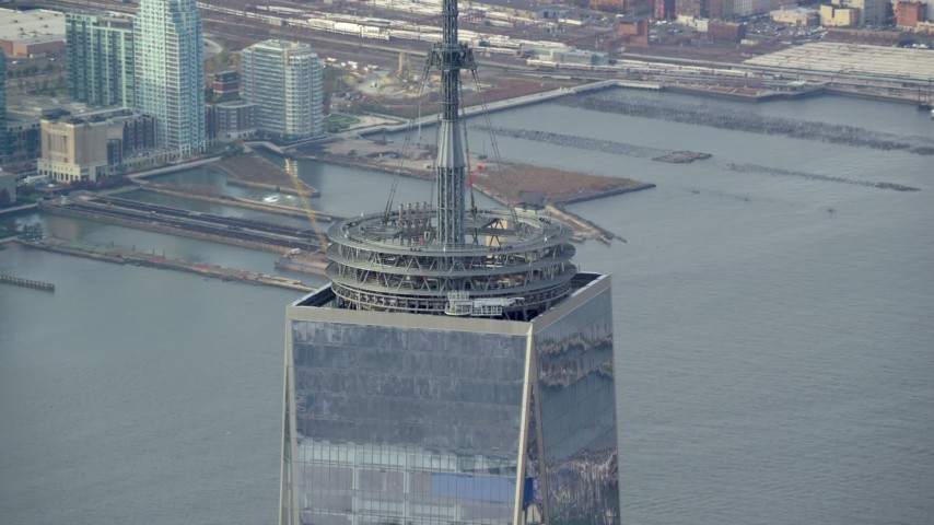 6K stock footage aerial video of the top of Freedom Tower in Lower Manhattan, New York City Aerial Stock Footage | AX120_099
