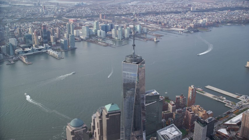 Freedom Tower in Lower Manhattan, New York City Aerial Stock Footage | AX120_100