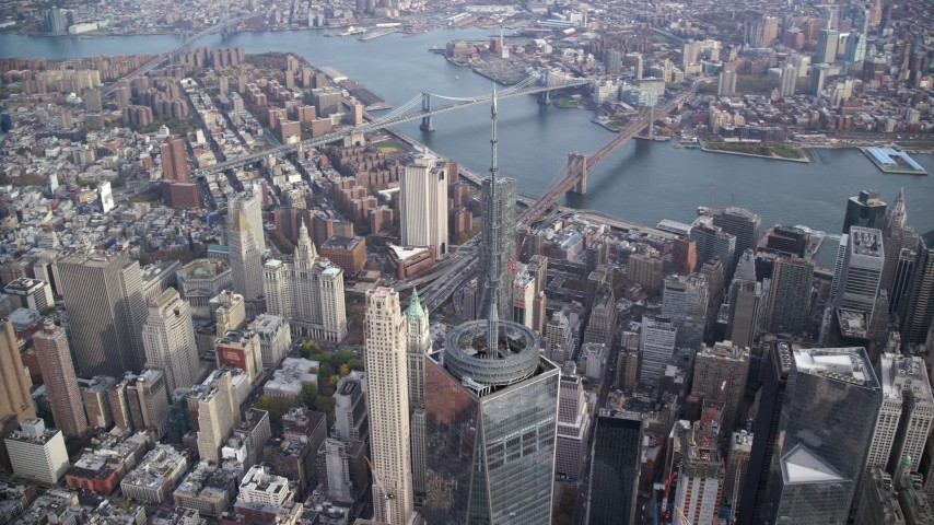 Top of Freedom Tower in Lower Manhattan, New York City Aerial Stock Footage | AX120_104