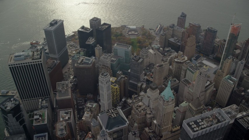 6K stock footage aerial video orbit skyscrapers and Battery Park in Lower Manhattan, New York City Aerial Stock Footage | AX120_107
