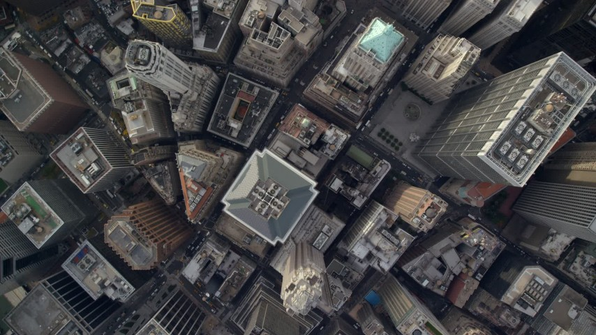 6K aerial video of a bird's eye of skyscrapers and streets in Lower Manhattan, New York City Aerial Stock Footage | AX120_108
