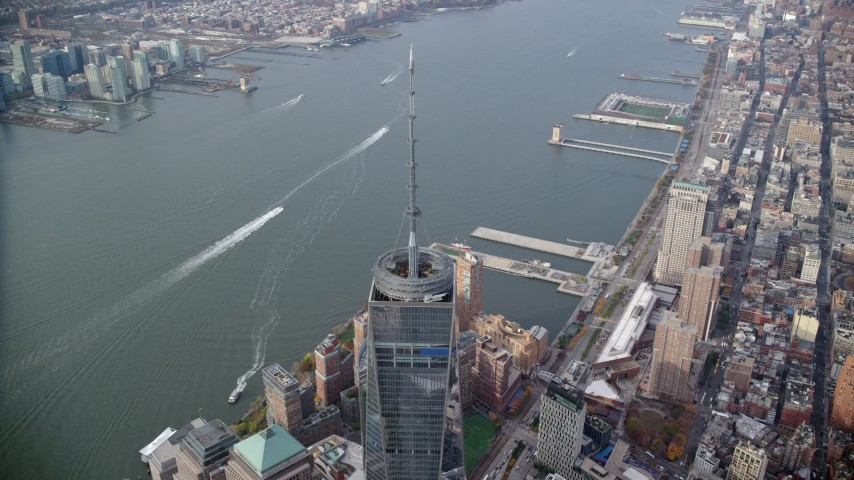 6K stock footage aerial video approach the Freedom Tower spire in Lower Manhattan, New York City Aerial Stock Footage | AX120_109