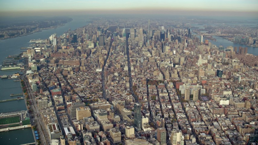 6K stock footage aerial video of a wide view of skyscrapers in Midtown Manhattan, New York City Aerial Stock Footage | AX120_111