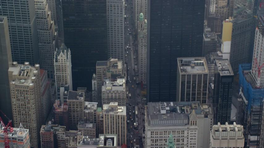 Broadway in Lower Manhattan, New York City Aerial Stock Footage | AX120_114
