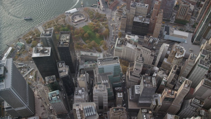 6K stock footage aerial video of a bird's eye of skyscrapers near Battery Park in Lower Manhattan, New York City Aerial Stock Footage | AX120_118