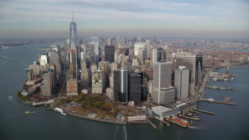 6K stock footage aerial video of flying toward Battery Park and Lower Manhattan in Autumn, New York City Aerial Stock Footage | AX120_123