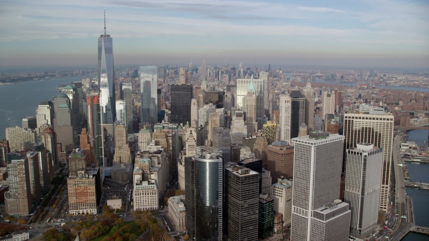 Approach Lower Manhattan in Autumn, New York City Aerial Stock Footage | AX120_124