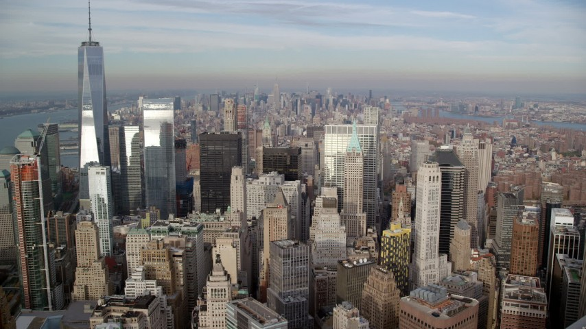 6K stock footage aerial video of flying over Lower Manhattan skyscrapers toward Midtown, New York City Aerial Stock Footage | AX120_125