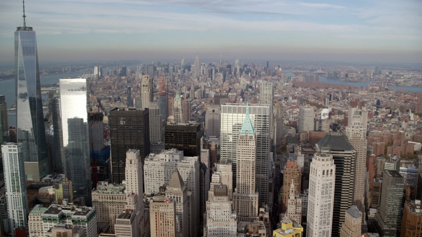6K stock footage aerial video fly above skyscrapers in Lower Manhattan toward Midtown, New York City Aerial Stock Footage | AX120_126