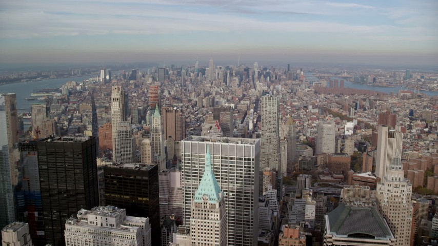6K stock footage aerial video approach Midtown while flying over Lower Manhattan skyscrapers, New York City Aerial Stock Footage | AX120_127