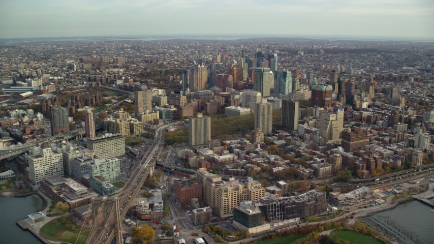 6K stock footage aerial video approach skyscrapers in Autumn, Brooklyn, New York City Aerial Stock Footage | AX120_129E