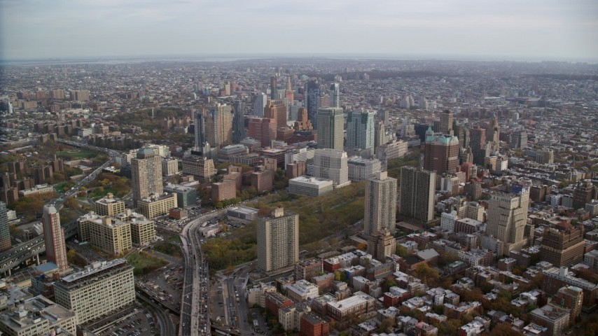 6K stock footage aerial video of approaching tall Brooklyn skyscrapers in Autumn, New York City Aerial Stock Footage | AX120_130