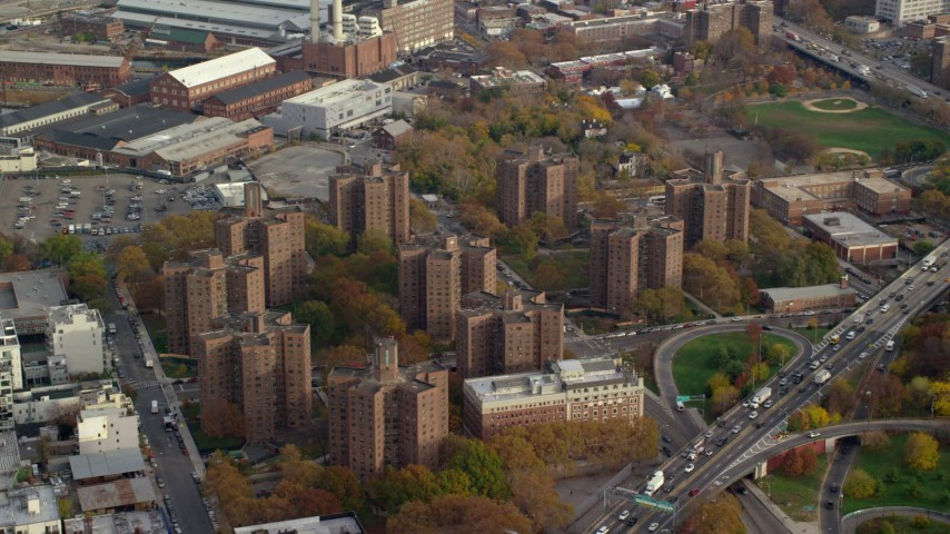 6K stock footage aerial video of public housing apartment buildings in Autumn, Brooklyn, New York City Aerial Stock Footage | AX120_131