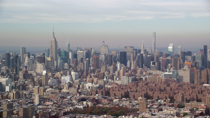 6K stock footage aerial video of a wide view of Midtown skyscrapers in Autumn, New York City Aerial Stock Footage | AX120_138