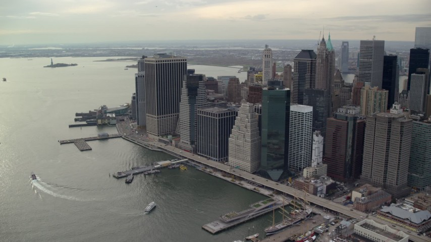 6K stock footage aerial video approach skyscrapers at the tip of Lower Manhattan, New York City Aerial Stock Footage | AX120_147