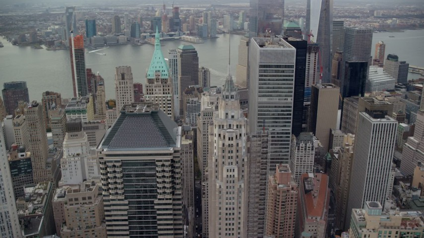 6K stock footage aerial video approach and orbit skyscrapers in Lower Manhattan, New York City Aerial Stock Footage | AX120_148